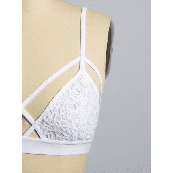 White Diamond Strappy Lace Bralette