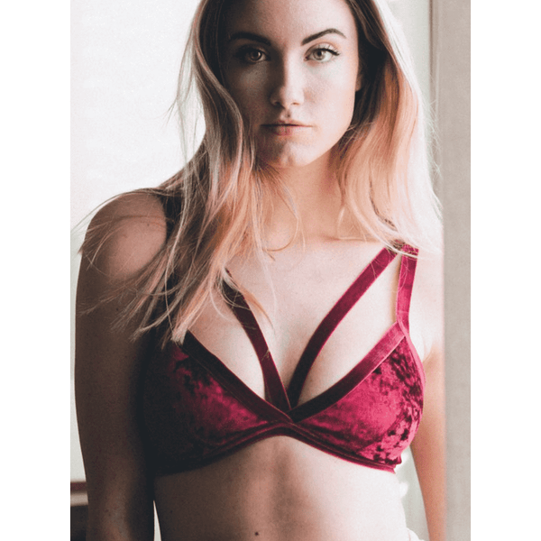 Super Cute Crushed Velvet Bralette - Comes in Black, Burgundy & Grey