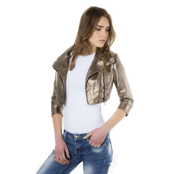 Short leather Jacket bronze Fiamma