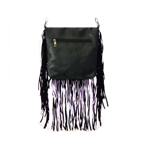 Women's Messenger Handbag Black Leather Fringe Detail