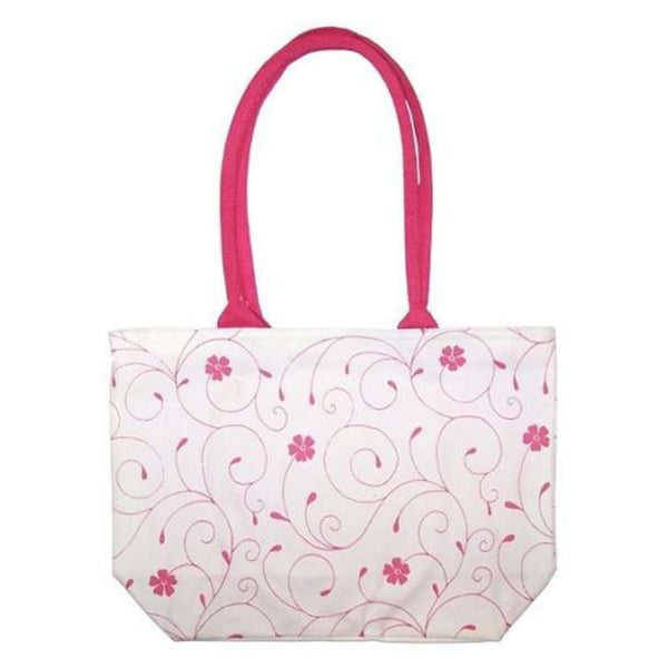 White & Pink Floral Cotton Shopping Beach Tote Bag