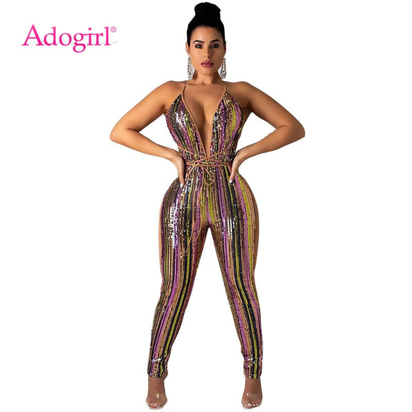 Adogirl Colorful Stripe Sequins Bandage Jumpsuit Sexy Deep V Neck Spaghetti Straps Night Club Party Outfits Women Romper Overall