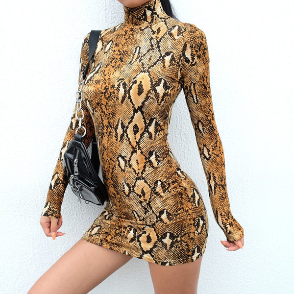 Casual women summer dress Sexy Long Sleeve Turtleneck Snake Striped Print Sheath sexy party dress women