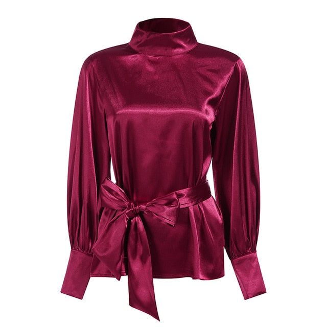 Celmia Fashion Women Satin Blouse 2019 Elegant Bow Tie Neck Lantern Sleeve Plus Size Top OL Office Shirt Casual Blusas Mujer 5XL