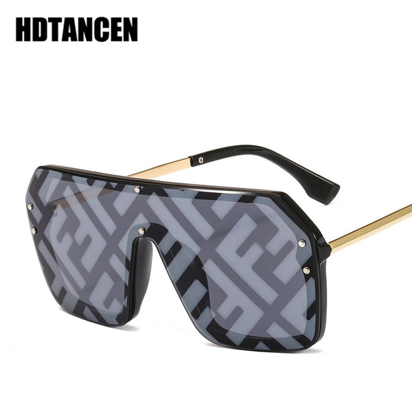 HDTANCEN Hip-hop Sunglasses Exaggerated Large Frame Conjoined Sunglasses Frameless Men Women Letters Lenses Fashion Sunglasses