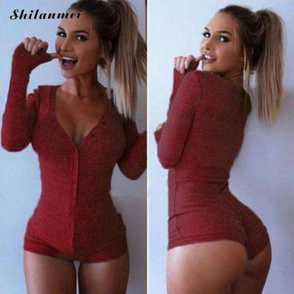 Hot Rompers Womens Jumpsuit 2018 Sexy Lady V Neck Long Sleeve Bodycon Jumpsuit Bodysuit Slim Short Cotton Romper Pink Black