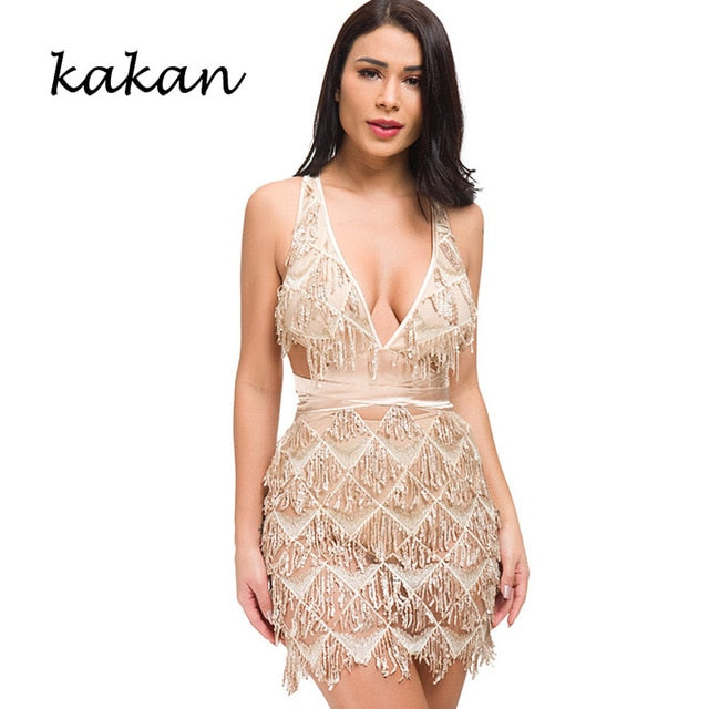 Kakan 2019 new best women's sequin dress two-piece sexy nightclub backless dress deep V-neck tassel sequin club party dress