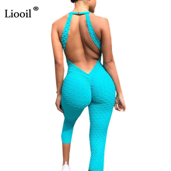Liooil Backless Rompers Womens Jumpsuit Sexy Club Outfits For Woman Fashion Bodycon V Neck Green Jumpsuits Long Pants Overalls