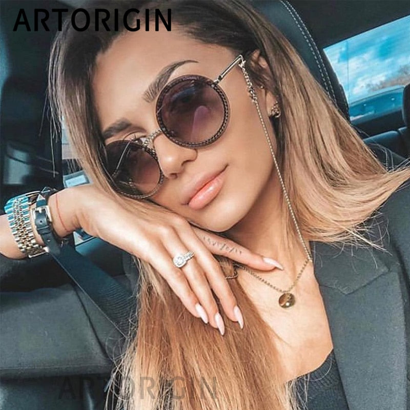 Luxury Sunglasses Women Rimless Round Glasses Ladies Elegant Female Eyewear Round gafas de sol mujer New 2019