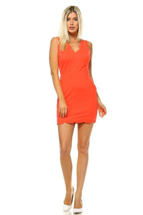 Women's Open Back Scallop Trimmed Dress