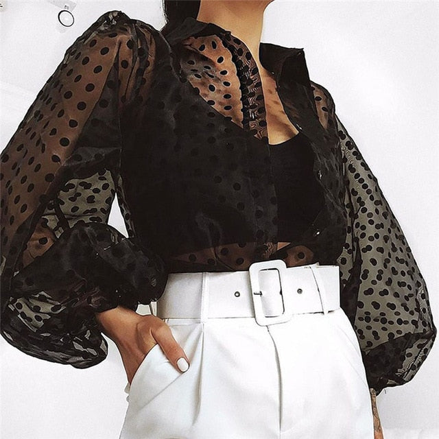 New Elegant Fashion Women OL Casual Shirt Blouse Perspective Sheer Mesh Lantern long sleeve Polka dot Button Tops Beach Blusas