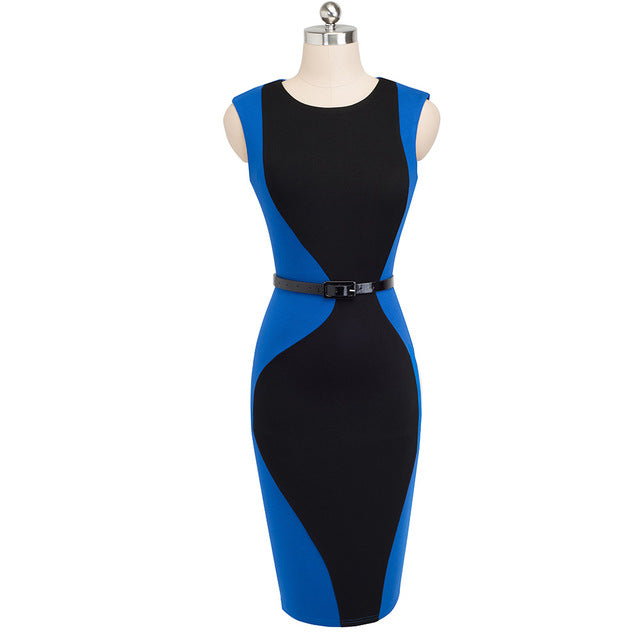 Nice-forever Vintage Patchwork Round Neck Sleeveless Work vestidos Business Sheath Bodycon Women Office Dress B501