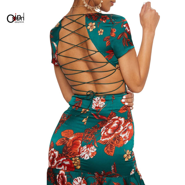 Osunlin Summer Dress Women's Sexy Deep V-neck Beach Holiday Dress Print Halter Fishtail Dress