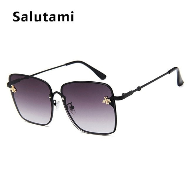 Retro Square Bee Sunglasses Women Brand Designer Metal Frame Oversized Sun Glasses Fashion Men Gradient Shades Oculos UV400