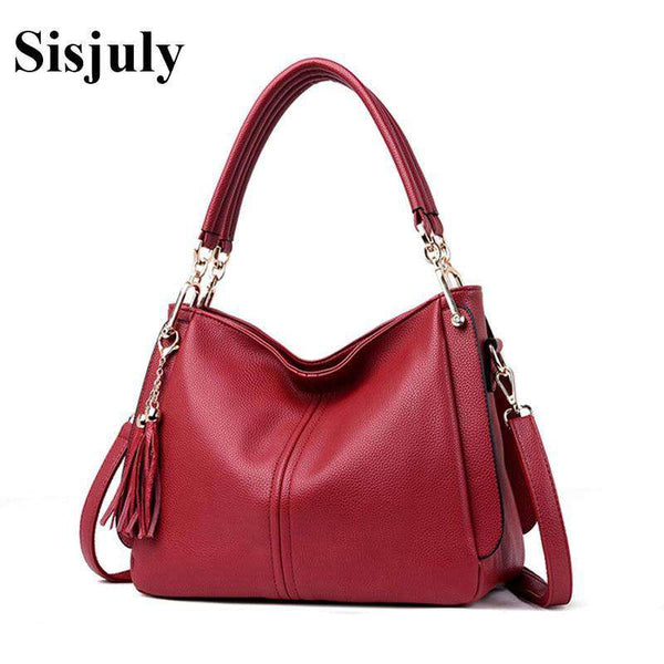 Sisjuly Designer Hangbags Women Cow Leather Shoulder Bags Ladies Solid Bags Female Large Tassel Tote Women Casual Crossbody Bag
