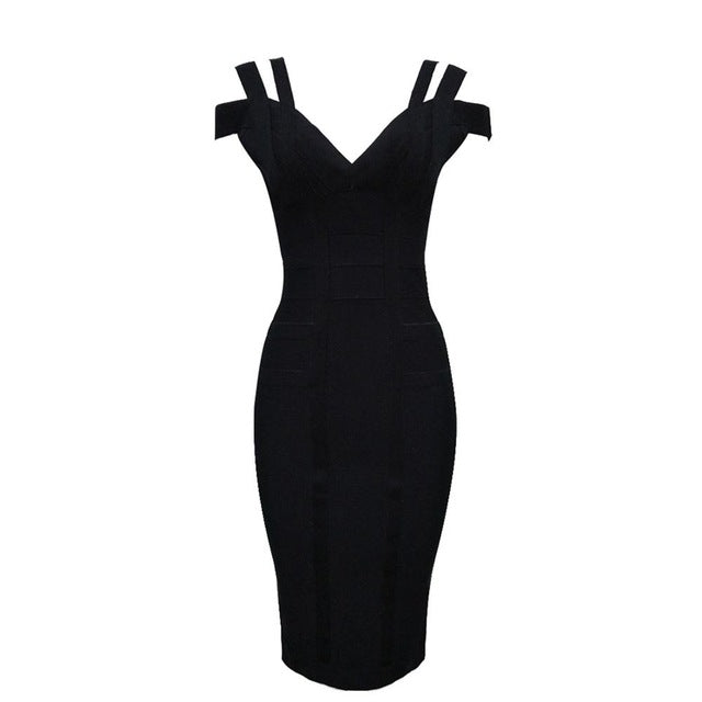 Spaghetti Strap Solid Women Bandage Dresses Hollow Out Sleeveless Mid-Calf V-Neck Night Club Fashion Natural Dresses