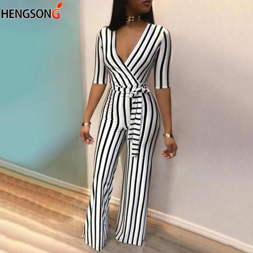 Summer Deep V Neck Sashes Jumpsuit Women Half Sleeve Casual Rompers Overalls Sexy Office Lady Striped Long Pants Jumpsuits
