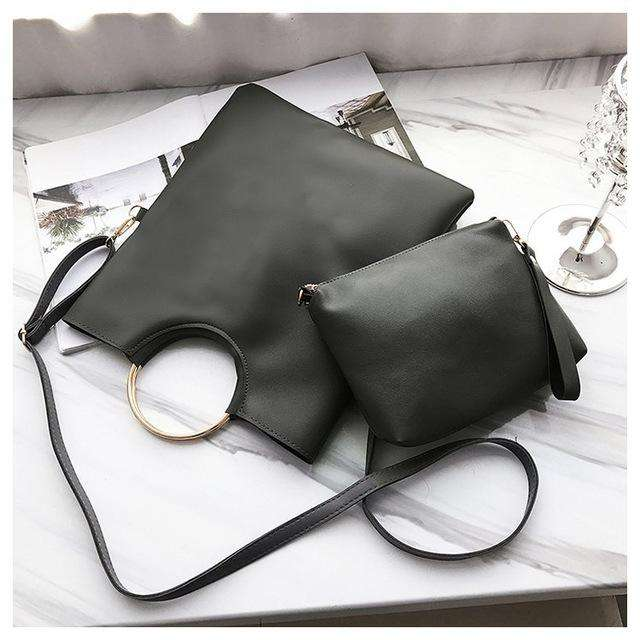 Vintage Ring Women Hangbags Women's Shoulder Bags fold Ladies Clutches Crossbody Bags for female wristlet totes purse 2 pcs/set