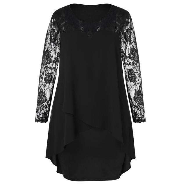 Women Dress Plus Size Sheer Lace Sleeve High Low Hem O-Neck Swing Dress  Casual bf5ebb25a991