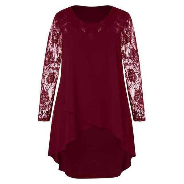 Women Dress Plus Size Sheer Lace Sleeve High Low Hem O-Neck Swing Dress Casual party dresses large sizes 5XL dropship d7