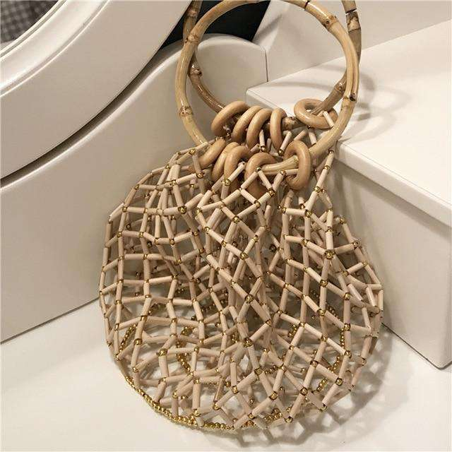 Women Fashion Hangbag Round Bamboo Circle Summer Beach Bamboo Rivet Hollwout Vintage Handmade Korean Style Net Bag