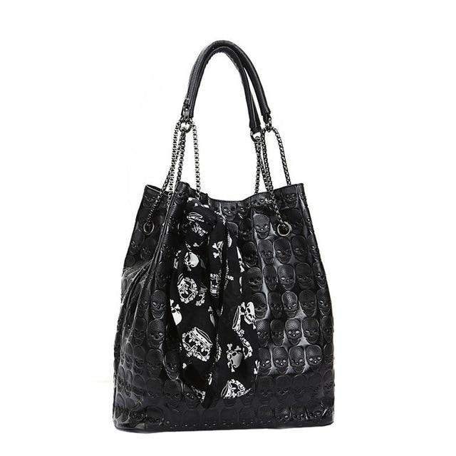 Women Handbag Skull Skeleton Chain Luxury Hangbag Lady Vintage Tote Shoulder Bucket #Z