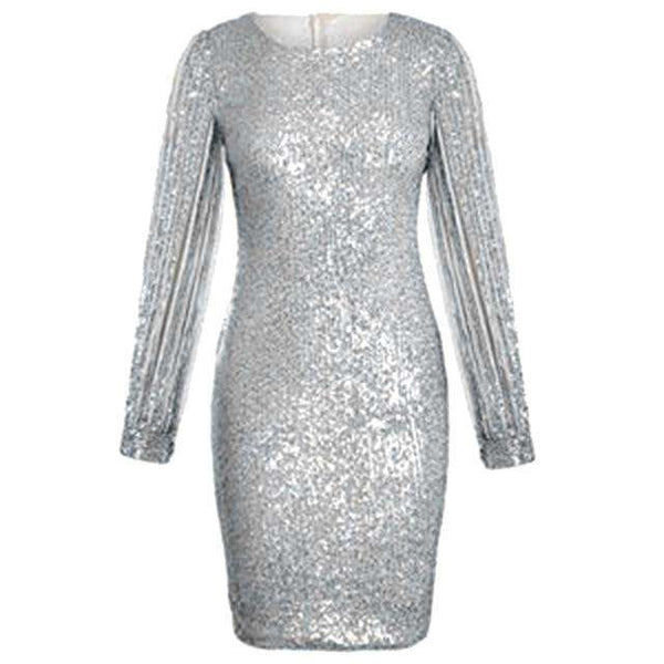 Women Sexy Clubwear Winter Dress Sequined Shine High Split Girl Evening Party Dress Elegant Sequin Dress Femme Robe Plus Size