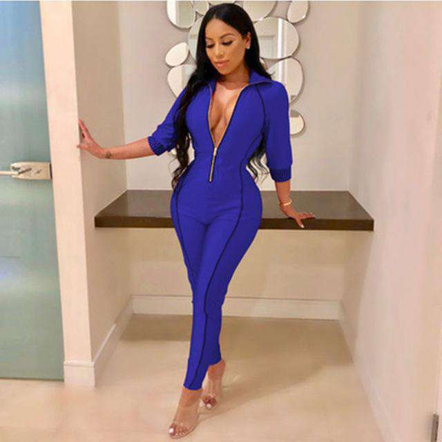 c9019b8db16 Women Sexy Jumpsuit bodysuit rompers Deep V Neck Zipped Long Jumpsuit  office Overalls Party Jumpsuits For