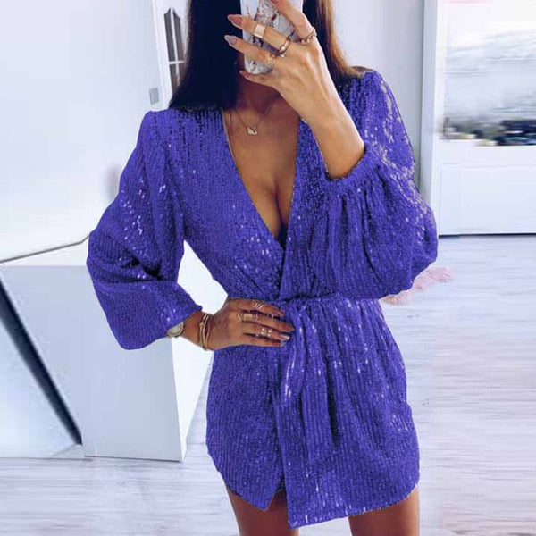 Women Sexy Sequin Glitter Shiny Irregular Mini Dress Summer V-neck Puff Long Sleeve Dress Spring Casual Belt Short Dress Vestido