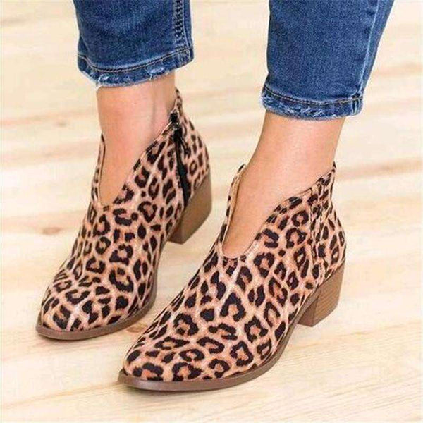 Women Shoes 2019 Leopard Print Sexy Pointed Toe Ankle Boots Slip on Deep V  High Heel Lady Party Dress Shoes