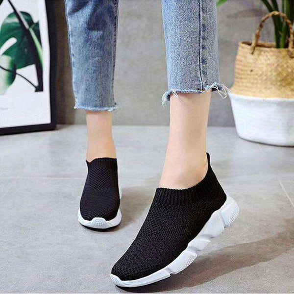 Women Sneakers Casual Flat Shoes Female Slip On Vulcanized Shoe Elastic Band Mesh Flyknit Autumn Footwear For Ladies