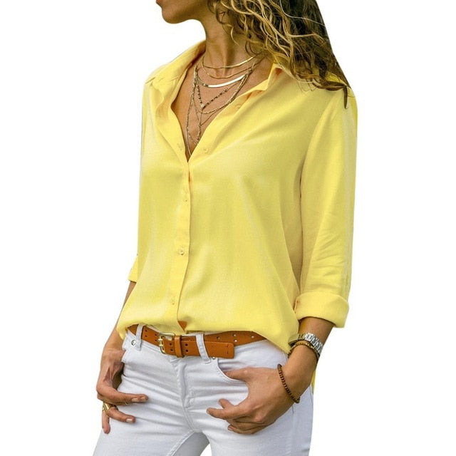 Women Tops Blouses 2019 Autumn Elegant Long Sleeve Solid V-Neck Chiffon Blouse Female Work Wear Shirts Plus Size