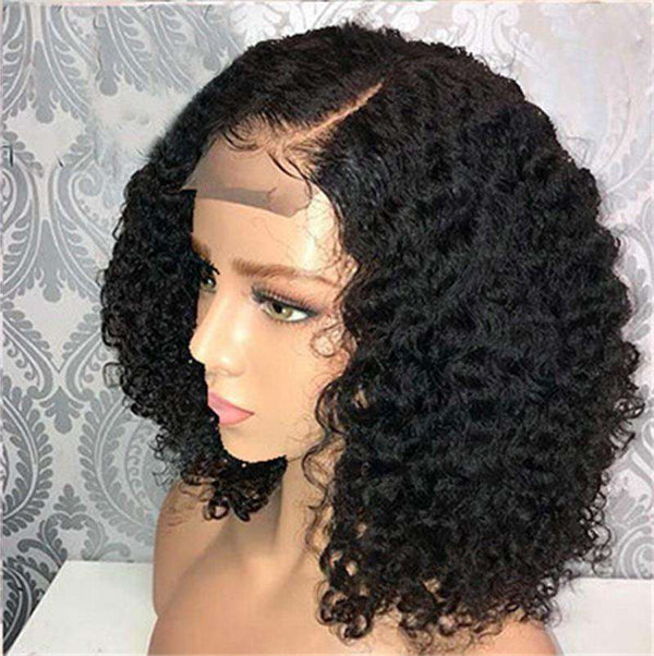 8A Lace Front Human Hair Wigs Pre Plucked Curly Brazilian Virgin Hair with Baby Hair Lace Front Bob Wigs for Women 150% Density