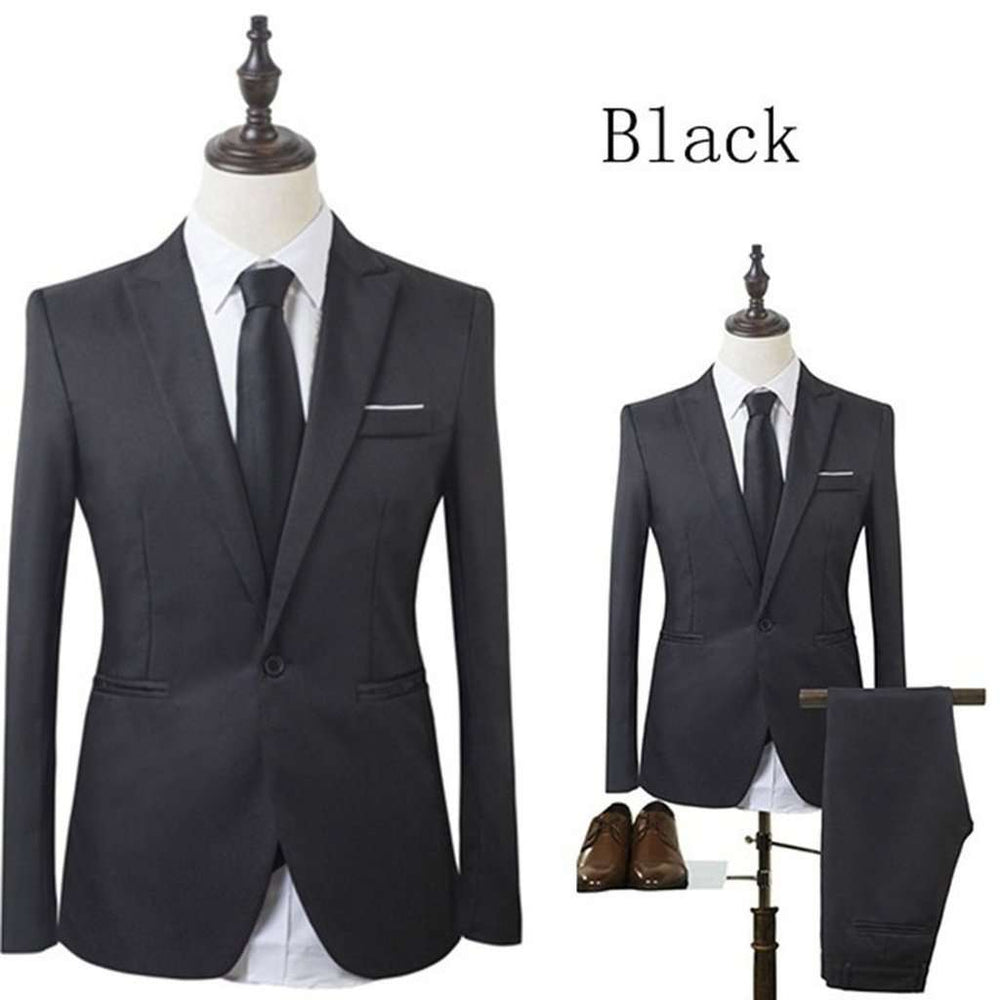 Classic Men Suit Slim Small Suit Wedding Groom Wear Men Suit Black Gentlemen Costume Mariage Homme M-3XL(Blazer+Pants) 8 Colors