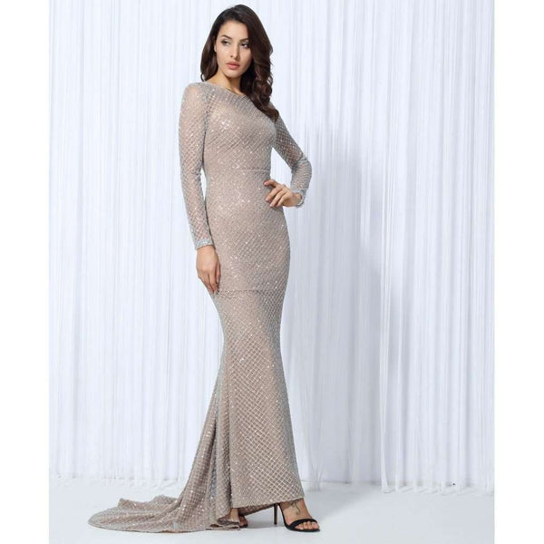 Silver Lattice Evening Dress