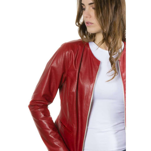Women's leather jacket roundneck red Clear