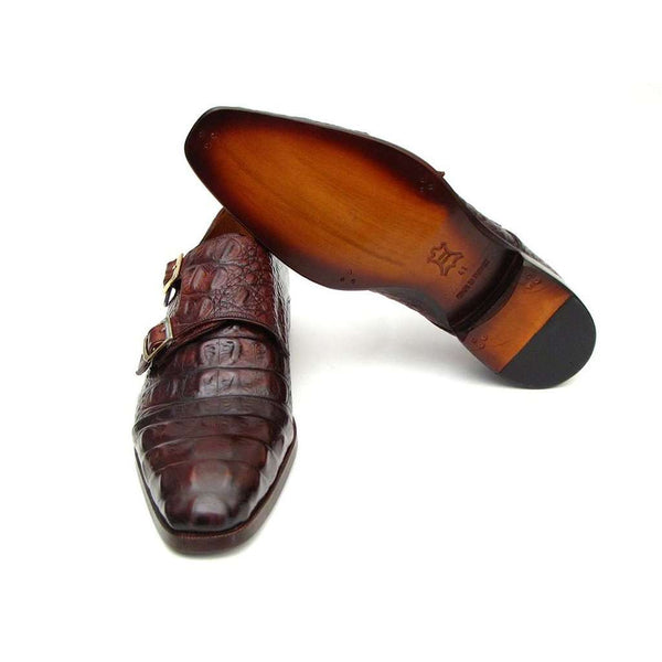 Paul Parkman Double Monkstraps Brown & Bordeaux Crocodile Embossed Calfskin (ID#045FG12)