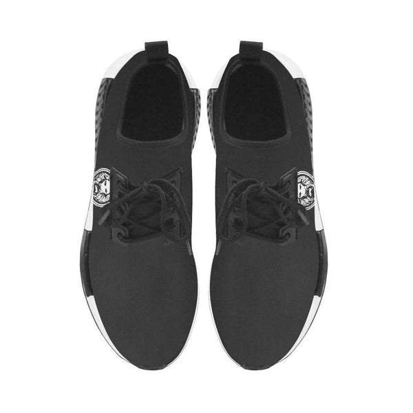 Mens Black Run Style Trainers White Lion Lace Ups