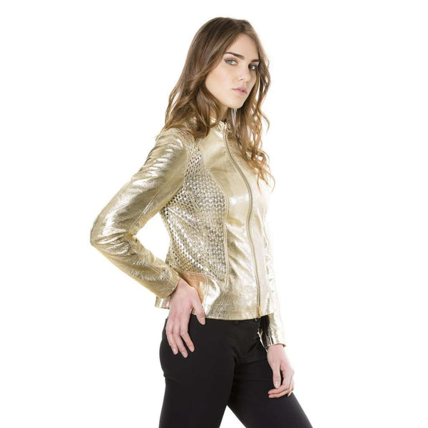 Women's quilted leather jacket biker gold Geny