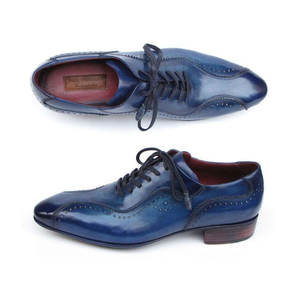 Paul Parkman Handmade Lace-Up Casual Shoes For Men Blue (ID#84654-BLU)