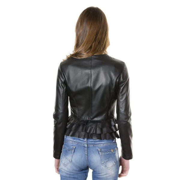 Women's leather jacket black color