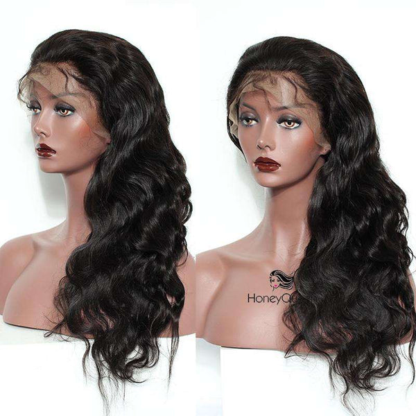 Body Wave Lace Front Human Hair Wigs For Women Natural Black Pre Plucked 250% Density Body Wave Brazilian Frontal Wig