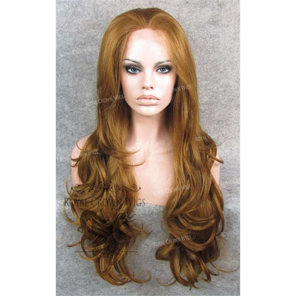 "26"" Heat Safe Synthetic Lace Front ""Constance"" with Curly Texture in Reddish Golden Blonde"
