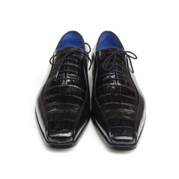 Paul Parkman Men's Black Genuine Crocodile & Calfskin Oxford Shoes (ID#048-BLK)