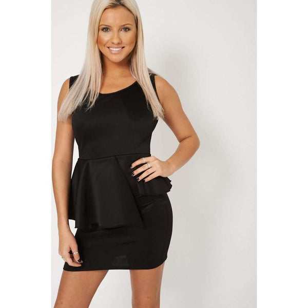 Sleeveless Ruffled Overlay Dress In Black