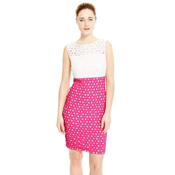 M&S Marks & Spencers Pink & Ivory White Daisy Cut Out Bodycon Dress Size 12 - 22