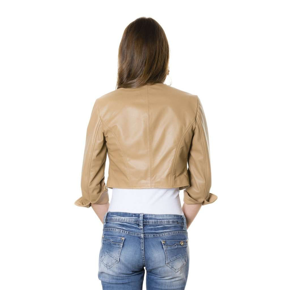 Women's leather short jacket brown Miss