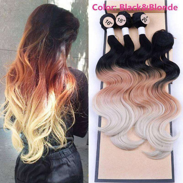 "16 "" 18 "" 20 "" Body Wave Closure Wavy Hair Weaving 3Bundles with Lace Closure Human Hair Piece Ombre Gray Hair Weave Synthetic H"