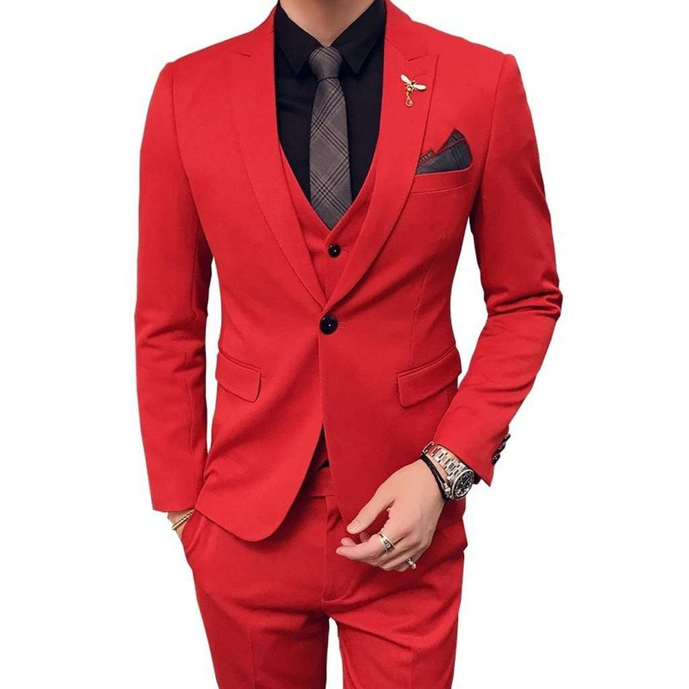 Three Piece Red Evening Party Men Suits 2018 Custom Made Wedding Tuxedos (Jacket + Pants + Vest) Fashion Men's Suit