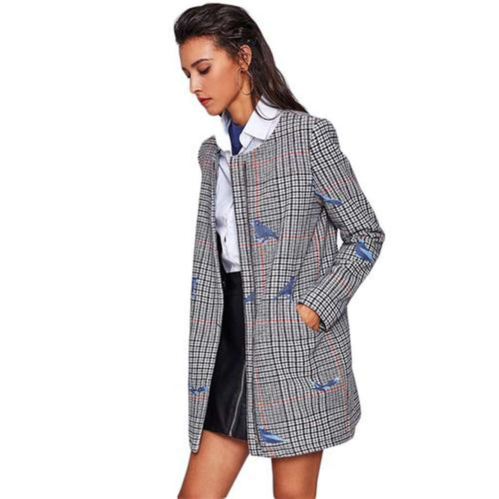 Bird Embroidered Hidden Zip Plaid Coat